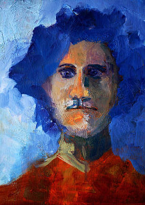 Visionary Painting - Abstract Thinking Man Portrait by Nancy Merkle