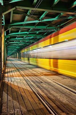 Abstract Tram Light Trails On A Bridge Art Print