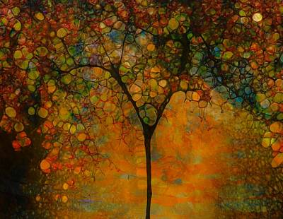 Reds Of Autumn Mixed Media - Abstract Tree Art by Dan Sproul