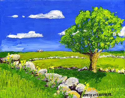 Maine Meadow Painting - Abstract Tree In Maine Blueberry Field Painting. by Keith Webber Jr