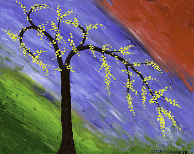 Simple Abstract Art Painting - Abstract Tree Painting by Keith Webber Jr