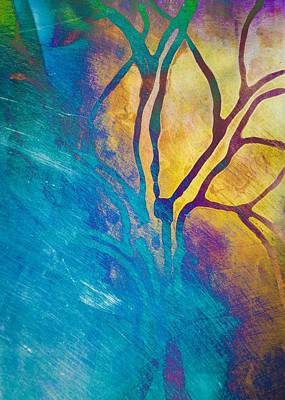 Mixed Media - Fire And Ice Abstract Tree Art  by Priya Ghose