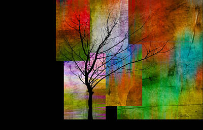 abstract- trees - Color Blocks with Tree Art Print by Ann Powell