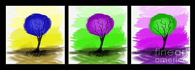 Abstract Trees Tryptich Art Print by Art Photography