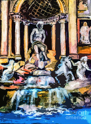 Abstract Trevi Fountain Rome Italy Art Print by Ginette Callaway