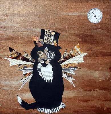 Steampunk Royalty-Free and Rights-Managed Images - Steampunk Style Cat Art Tuxedo Cat Abstract Cat Painting by Holly Anderson