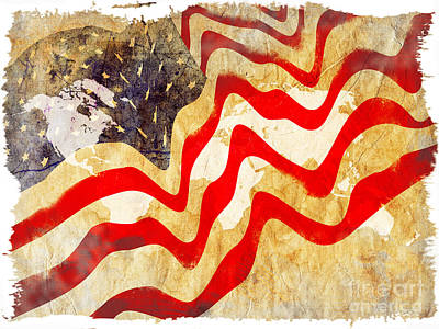 Abstract Usa Flag Art Print by Stefano Senise