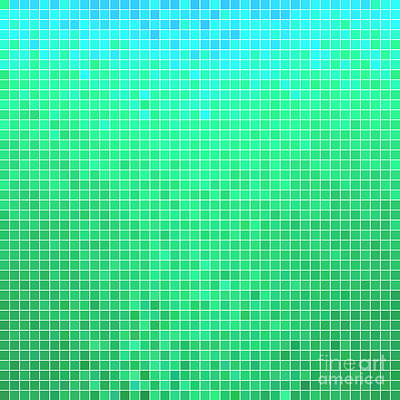 Computer Wall Art - Digital Art - Abstract Vector Square Pixel Mosaic by Green Flame