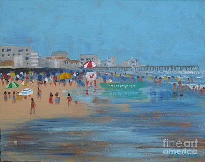 Boardwalk Painting - Abstract Ventnor Beach by Elisabeth Olver