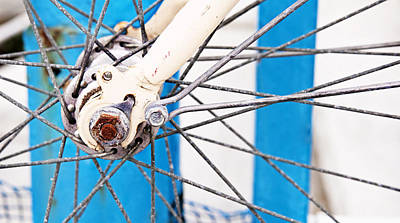 Photograph - Abstract Vintage Bicycle Spokes Blue And White by Angela Bonilla