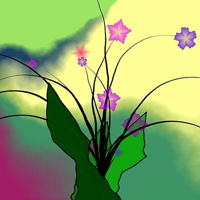 Abstract Flowers Digital Art - Abstract Violets by GuoJun Pan