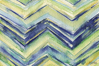 Abstract Watercolor Painting - Blue Yellow Green Chevron Pattern Art Print by Beverly Brown