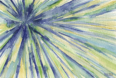 Abstract Artist Painting - Abstract Watercolor Painting - Blue Yellow Green Starburst Pat by Beverly Brown