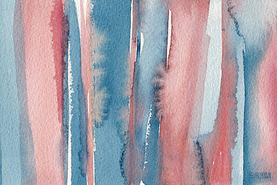 Laundry Painting - Abstract Watercolor Painting - Coral And Teal Blue Medium Stripes by Beverly Brown Prints