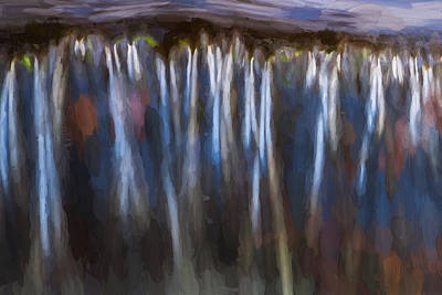 Black Rock Yellow Leaves Water Photograph - Abstract Waterfalls Childs National Park Painted  by Rich Franco