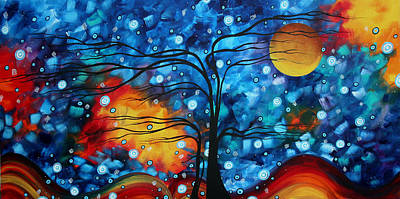 Baby Licensing Painting - Abstract Whimsical Original Landscape Painting Childhood Memories By Madart by Megan Duncanson