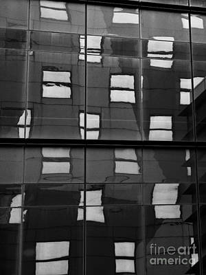 Photograph - Abstract Window Reflections - Nyc Bw by Dave Gordon