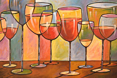 Abstract Wine Art ... Whites And Reds Print by Amy Giacomelli