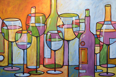 Wine Art Painting - Abstract Wine Dining Room Bar Kitchen Art ... Time To Relax by Amy Giacomelli