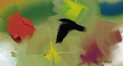 Abstract With Crow Art Print by Lenore Senior