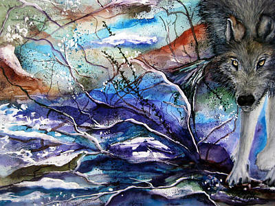 Abstract Wolf Art Print by Lil Taylor