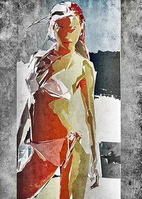 Bikini Digital Art - Abstract Woman by David Ridley