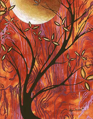 Abstract Wood Pattern Painting Original Landscape Art Moon Tree By Megan Duncanson Art Print by Megan Duncanson