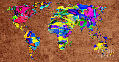 One Continent Mixed Media - Abstract World Map - A Wide World Of Color - One by Andee Design