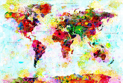 Abstract World Map Art Print