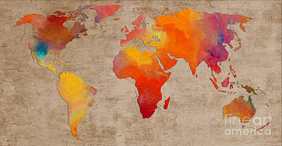 Digital Art - Abstract World Map - Rainbow Passion - Digital Painting by Andee Design