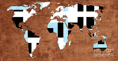 Digital Art - Abstract World Map - Which Way Is Up - Painterly by Andee Design