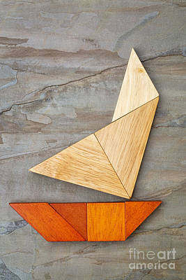 Abstract Yacht From Tangram Puzzle Art Print