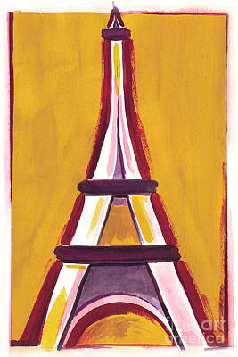 Painting - Abstract Yellow Red Eiffel Tower by Robyn Saunders