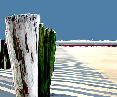 Abstract Seascape Digital Art - Abstracted Beach Dune Fence by Elaine Plesser