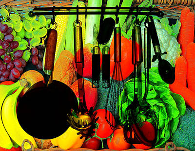 Grocery Store Painting - Abstracted Kitchen Scene by Elaine Plesser
