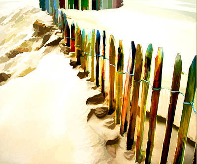 Abstract Beach Landscape Digital Art - Abstracted March Of The Colored Dune Fence by Elaine Plesser