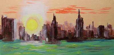 Abstracted Ny Skyline Art Print by Rich Mason