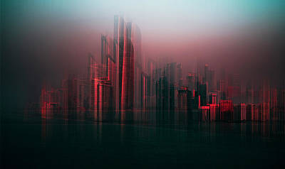 Abstract Skyline Wall Art - Photograph - Abu Dabhi Skyline by Carmine Chiriaco'
