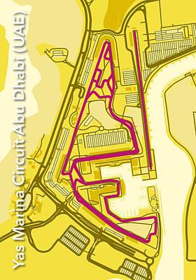 Printed Circuit Digital Art - Abu Dhabi Circuit by Big City Artwork
