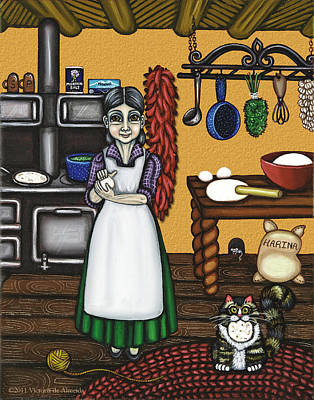 Tortillas Painting - Abuelita Or Grandma by Victoria De Almeida