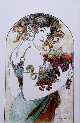 Painting - Abundance After Mucha by Tony Ruggiero