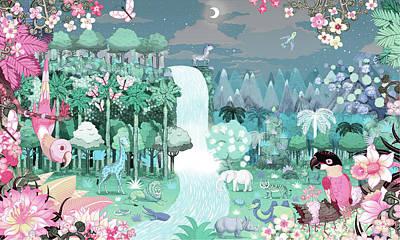 Digital Art - Abundant Colorful Tropical Jungle At by Andy Ward