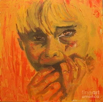 Crying Boy Painting - Abused  by Jolanta Shiloni