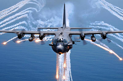Sports Photograph - Ac-130h Spectre Jettisons Flares by Celestial Images