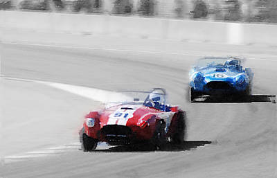 Cobra Wall Art - Painting - Ac Cobra Racing Monterey Watercolor by Naxart Studio