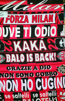 Ac Milan Fans Scarves  Art Print by Valentino Visentini