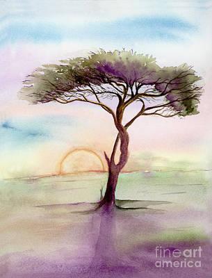 Burning Bush Painting - Acacia Sunrise by L T Sparrow