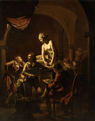 Lamplight Painting - Academy By Lamplight  by Joseph Wright of Derby