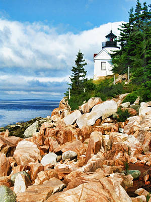 Maine Landscapes Painting - Acadia Bass Harbor Head Lighthouse On Mt Desert Island Maine by Elaine Plesser