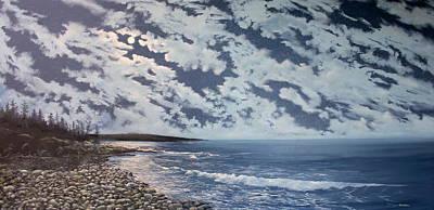 Maine Seacoast Painting - Acadia Moon by Ken Ahlering